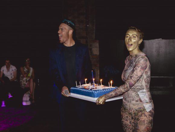 MC's Tony Thrills and Kandy Ikon with brithday cake