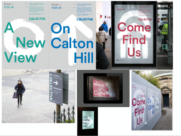 Examples of branding application on posters and signage